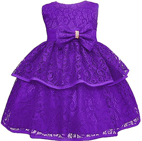 Toddler Baby Girls Lace Applique Christing Pageant Birthday Party Dress Purple 24-36M