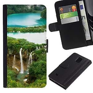 LASTONE PHONE CASE / Lujo Billetera de Cuero Caso del tirón Titular de la tarjeta Flip Carcasa Funda para Samsung Galaxy Note 4 SM-N910 / Waterfall Forrest
