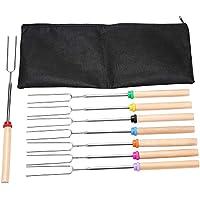 Janememory 8pcs Marshmallow Roasting Stick, Stainless Steel Telescopic Roasting Sticks, Wooden Handle Extendable BBQ…