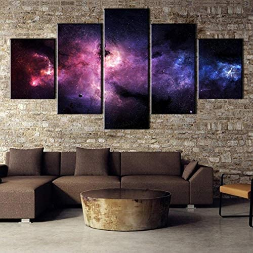 Wslin canvas prints 5 panelen canvas kunst universum mist moderne decoratieve schilderijen op canvas muurkunst voor hoofddecoraties wanddecoratie afdrukken op canvas 200 x 100 cm