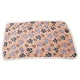 Meolin Dog Cat Fleece Blankets Pet Sleep Mat Pad Flannel Fleece Dog Throw Blanket Pet Dog Bed Blanket,Brown paw prints,23.615.35in