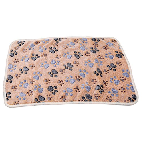 Price comparison product image Meolin Dog Cat Fleece Blankets Pet Sleep Mat Pad Flannel Fleece Dog Throw Blanket Pet Dog Bed Blanket, Brown paw prints, 23.615.35in
