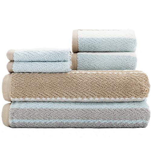 Caro Home Addison Brown 6 Piece Bath Towel Set - 2 Bath Towels 2 Hand Towels 2 Face Towels - 100% Combed Cotton Premium Quality Multi Pattern Color, Thick and Heavy Weight Plush Absorbent 600 GSM