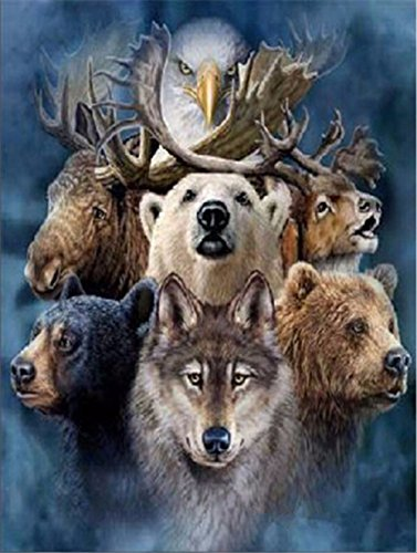 5D DIY Diamond Painting Kit Crystal Rhinestone Diamond Embroidery Paintings Cross Stitch Arts for Craft Home Wall Decor Deer Bear Wolf