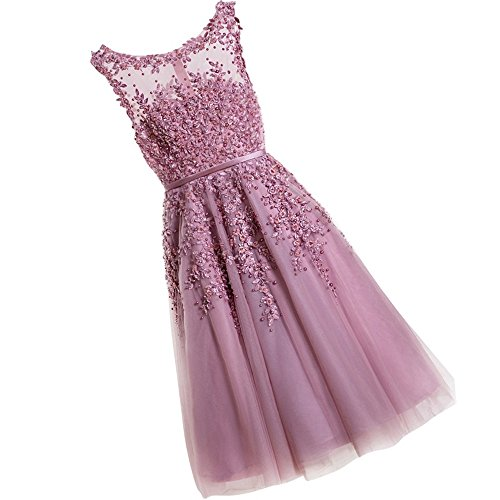 WDING Short Wedding Guest Dresses Cheap Knee Length Prom Dresses Lace Appliques With Pearls Evening Dress Dusty Rose Pink,US6 (After Six Stretch Bridesmaid Dress)