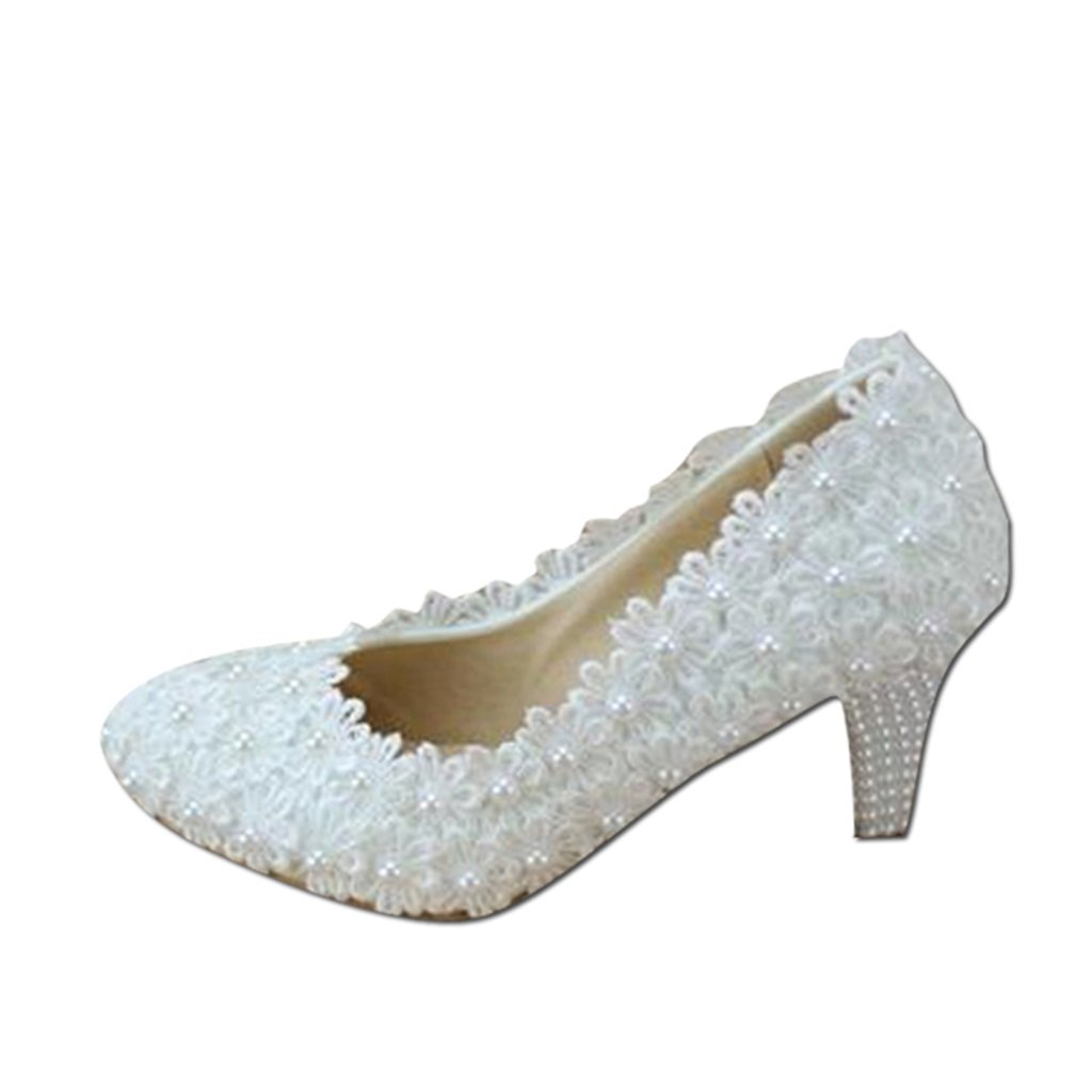 a6a0a1fbc1 Bridal shoes - elegant lace flowers wedding shoes white high-heeled pearl bridal  shoes wedding shoes (with high: 6cm) - Women's wedding shoes (Color : White  ...