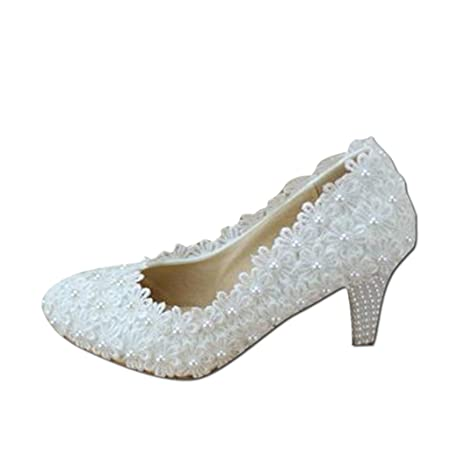 05c7a615b425 Bridal shoes - elegant lace flowers wedding shoes white high-heeled pearl  bridal shoes wedding