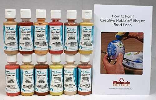 Duncan CCKIT-5 Cover-Coat Opaque Underglaze Warm Colors Paint Set, 12 Best Selling Colors in 2 Ounce Bottles with Free How To Paint Ceramics (Pottery Wagon Wheel)