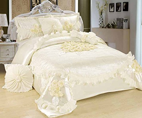 Tache 6 Piece Solid Floral White Sweet Victorian Satin Comforter Set, Cal King