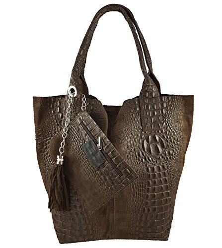 femme Dunkelbraun Made in Cabas pour FreyFashion Italy Kroko zCUgg