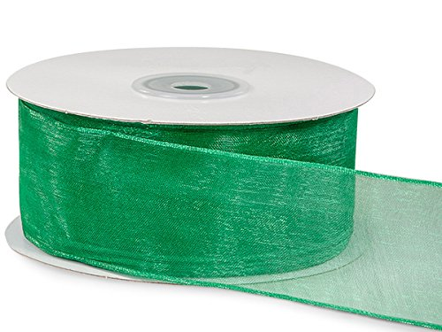 Pack Of 1, Solid Emerald Green Wired Encore Sheer Ribbon 1.5