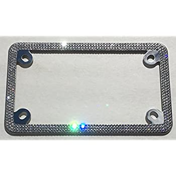 Amazon.com: 3 Row MOTORCYCLE CRYSTAL Bling License Plate Frame ...