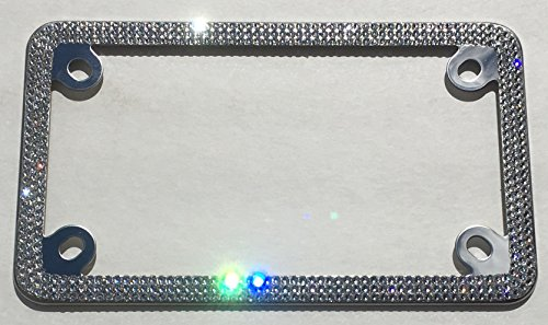 3 Row MOTORCYCLE CRYSTAL Bling License Plate Frame Rhinestone with Swarovski Crystals -  Cool Blingz, SWMC3Crys12C