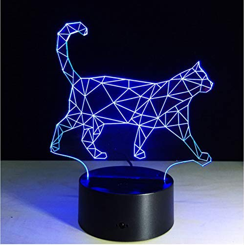 JINSH 3D Acryl Nachtlicht Walking Cat 3D Nachtlicht Acryl LED 7 Farbwechsel Lampen Fernbedienung Touch Tisch DeskAtmosphäre Lampe Wohnkultur Kinder Spielzeug