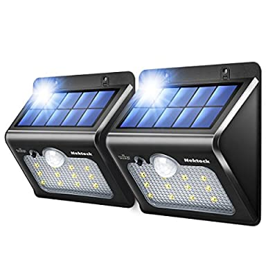 Nekteck Solar Lights 12 LED Outdoor Wall Light with Motion Sensor Detector for Garden Back Door Step Stair Fence Deck Yard Driveway Walkways Landscaping Security - 2 Pack, Warm White