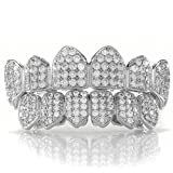 4 piece gold grill - 18K White Gold Plated Fang CZ Cluster Top Bottom Grillz (Top and Bottom Only)