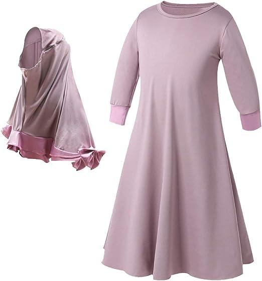 Girls Maxi Dress Kids Lace Sequin Long Sleeve Holiday Abaya Islamic Top Wedding