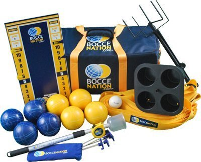 (BocceNation Complete Tournament Bocce Ball Set with Measuring Tape, 107 mm)