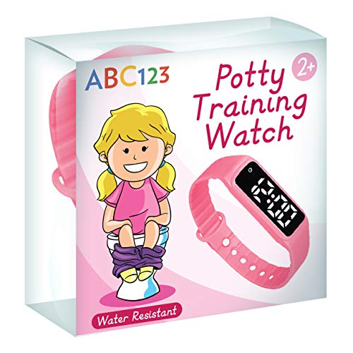 ABC123 Potty Training Watch – Baby Reminder Water Resistant Timer for Toilet Training Kids & Toddler (Pink)
