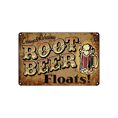 Creamy & Refreshing Root Beer Floats Retro Vintage Retro Metal Wall Decor Art Store Man Cave Bar Garage Aluminum 8