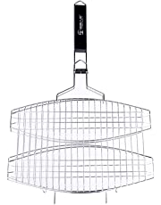 Baoblaze Double Fish-Shape BBQ Non Stick Fish-Shape Grilling Basket Mat,Stainless Steel with Handle Large Grilling Surface