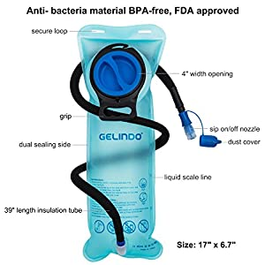 Gelindo Hydration Bladder 2.5 Liter Water Reservoir with Detachable Insulated Tube, BPA-Free Hydration Backpack Replacement for Hiking, Camping, Cycling, Hunting