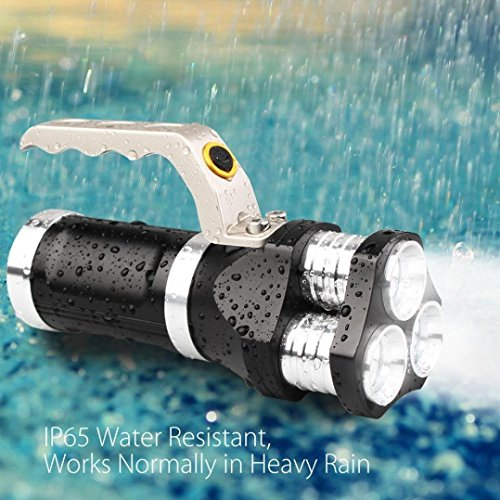 3t6 Flashlight - LED Flashlight,Handheld Waterproof, Rechargeable, 6800 Lumens, 18650 battery 3T6 Searchlight Spotlight for Camping and Hiking Outdoor (Color : Black)
