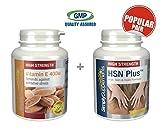 Vitamin E 400iu 240 Capsules + HSN Plus 120 Capsules| May Promote Healthy Skin | 100% money back guarantee | Manufactured in the UK