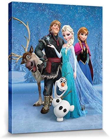 30 x 30 cm 1art1 La Reine des Neiges Poster Reproduction sur Toile Elsa /Étoile De Glace Tendue sur Ch/âssis