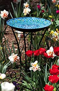 Evergreen Enterprises 2GB121 Blue and Green Mosaic Tile Birdbath