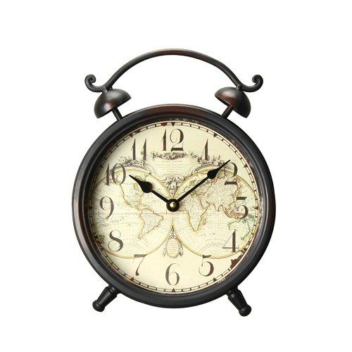Deco De Ville Classic Antique Vintage Retro Decorative European Minimalist Design Style World Map Theme Alarm Clock by Deco De Ville