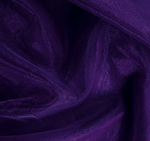 mds Pack of 15 Yard Bridal SOLID Sheer Organza Fabric Bolt for Wedding Dress,Fashion, Crafts, Decorations Silky Shiny Organza 44- Cadbury Purple