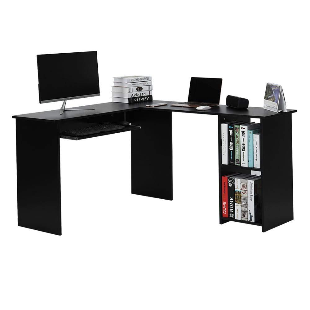 140 x 120 x 75 cm EBTOOLS L-f/örmiger Computertisch Eckschreibtisch Schreibtische B/ürotisch mit gleitender Tastaturablage und 2-B/ücherregal-Ecke