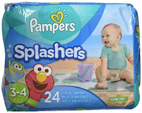 Pampers Splashers Size 3/4 Swim Pants - 24 Count Pack of 2 (Beach Treasure Pants)