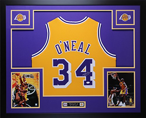 Shaquille O'Neal Autographed Gold Lakers Jersey - Beautifully Matted and Framed - Hand Signed By Shaquille O'Neal and Certified Authentic by JSA - Includes Certificate of Authenticity (Frame Shaquille Oneal)