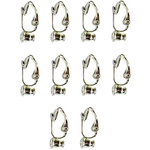 Evelots 5 Pair Silver Plated Clip-On-Earring Converter - Turn Any Post Or Stud (Clip Earring Converter)