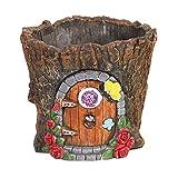 SIGNALS Fairy Door Cement Flower Pot - Garden Gnome House Tree Stump Planter