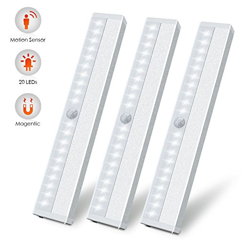LED Motion Sensor Closet Light, Wireless Motion Sensing Under Cabinet Lights, USB Rechargeable Magnetic Stick on Anywhere 20 LED Night Light Bar for Counter Drawer Cupboard, White Light, 3 Pack