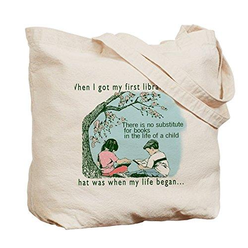 CafePress–vida comienza con lectura–Gamuza de bolsa de lona bolsa, bolsa de la compra