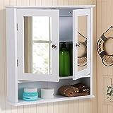 Topeakmart Medicine Cabinets Bathroom Wall Cabinet Multipurpose Kitchen Medicine Storage Organizer with Double Mirror Doors Adjustable Shelf White