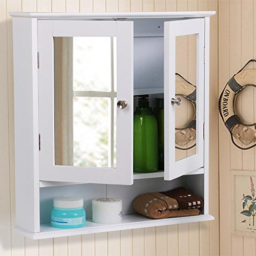 Topeakmart Medicine Cabinets Bathroom Wall Cabinet Multipurpose Kitchen Medicine Storage Organizer with Double Mirror Doors Adjustable Shelf White by Topeakmart