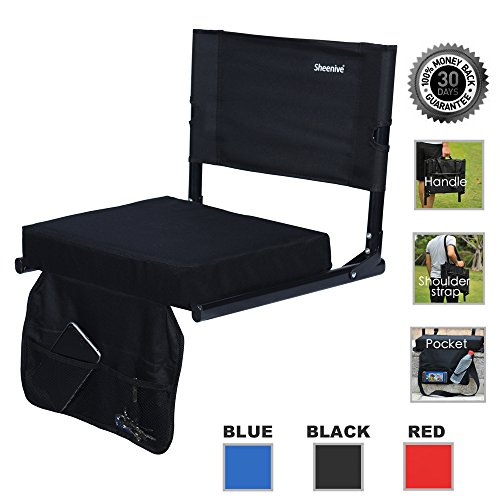 Sheenive Stadium Seat - Wide Padded Cushion Bleacher Stadium Chairs Seats for Outdoor Bench Bleachers with Leaning Back Support and Shoulder Strap, Perfect For NFL & Baseball etc (Padded Back Support)