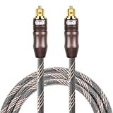 Optical audio cable digital toslink cable - [Nylon braided jacket,Durable and flexible]EMK Fiber optic cord for Home Theater, Sound bar, TV, PS4, Xbox & more (15Ft/4.6Meter)