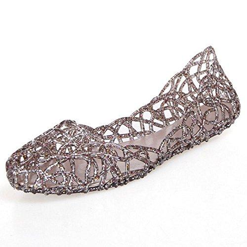 COOLCEPT Mujer Moda Sin Cordones Sandalias Cerrado Hueco Planos Zapatos Coffee