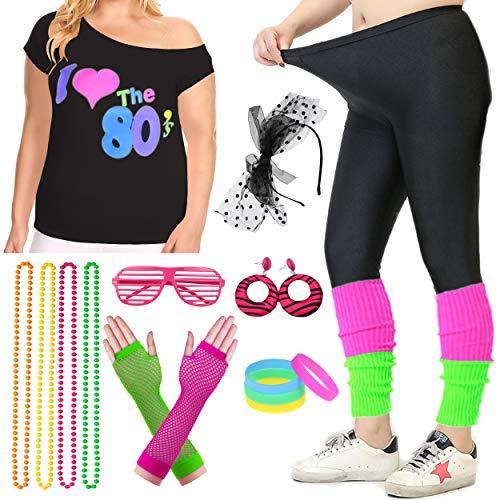 Women Plus Size 80s T-Shirt Pop Party Fancy Costume Outfit Accessory (3XL/4XL, Colorful)