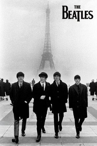 The Beatles - Walking In Paris 24x36 Poster Art Print Eiffel Tower France