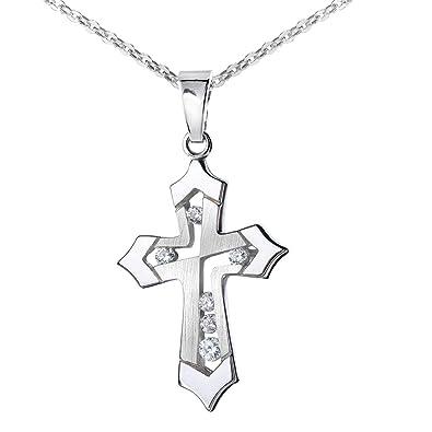 8fb9422988ad27 MATERIA 925 Silber Kreuz mit Kette 45cm - Kleiner Kettenanhänger mit  Zirkonia christlich für Damen Kinder mit Box KA-117 K97-45 cm  Amazon.de   Schmuck