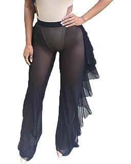 e14d6d9f13 Nituyy Women Sexy Perspective Ruffle Mesh Sheer Swim Pants Bikini Bottom  Cover Up
