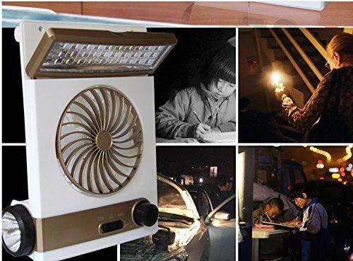 KASQA Solar Table Lamp Mini Fan 3 in 1 Multi-function Portable Eye-Care Desk Light Flashlight Solar Light For Adult Children Home Camping Solar Cooling Fans(Gold) by SUAYAN (Image #4)
