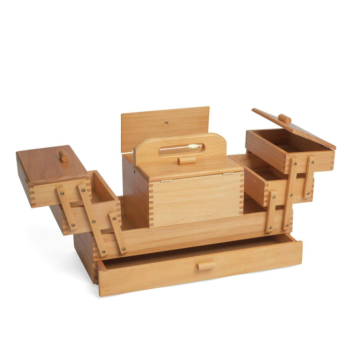 Mid-Light Shade Wood Hobbygift Wooden Cantilever 3 Tier Sewing Box 73x25x25 cm